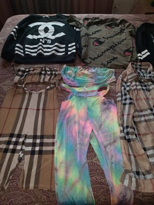 Burberry out fit, Chanel shirt, tie- dye outfit, all size medium, bundle all for $80 use once like new. lots more to offer on my page. for Sale in West Palm Beach, FL