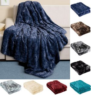 Luxury Faux Fur Throw Blanket - Ultra Soft and Fluffy - Plush Throw Blankets for Couch Bed and Living Room 50x65 (Full Size) Navy Blue for Sale in Queens, NY
