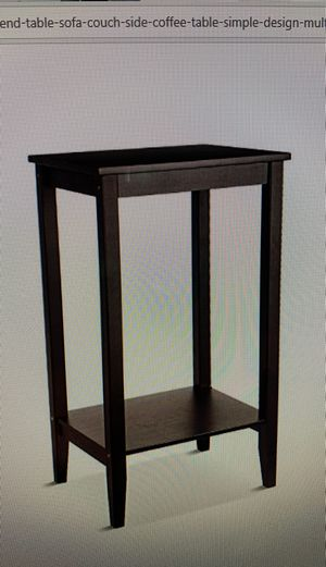HOMFA bamboo tall end table soda couch side coffee table simple design dark color for Sale in Ontario, CA