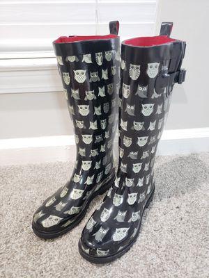 CAPELLI New York Owl Rain Boots - Black White - Womens Size 6 for Sale in Stonecrest, GA