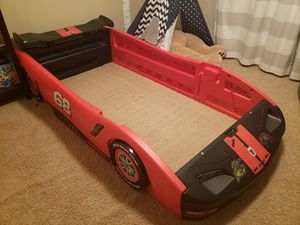 Delta Red Race Car Bed Frame comes with lightening McQueen decals. for Sale in Etiwanda, CA