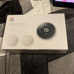 BRAND NEW GOOGLE NEST LEARNING THERMOSTAT 3 Rd GEN IN STAINLESS STEEL AND GOOGLE NEST TEMPERATURE SESOR (2-pack) for Sale in Newport Beach,  CA
