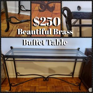 Beautiful glass and brass buffet table for Sale in Washington, DC