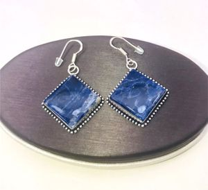 Natural dark blue sodalite large diamond shaped stones & .925 stamped sterling silver dangle hook earrings NEW! for Sale in Carrollton, TX