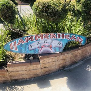 Hammer Head Lager Beer Wood Shark Bite Surfboard Beer Bar Man cave mirror for Sale in Monterey Park, CA