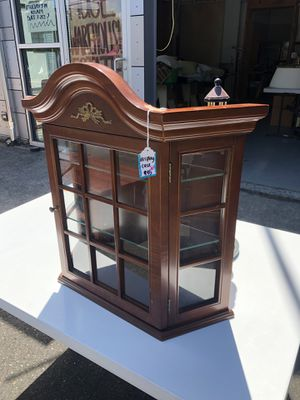 Wall hanging glass case with shelves for Sale in Portland, OR