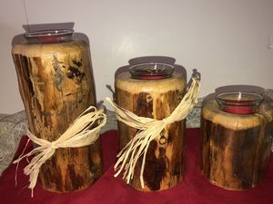 LOT 3 HANDMADE WOODEN CANDLE HOLDERS RUSTIC DESIGN for Sale in Altamont, NY