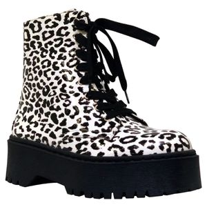 White/Black Leopard combat boots for Sale in Clovis, CA