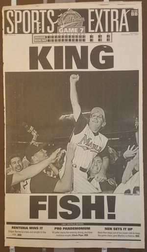 Marlins 1997 World Series Champions original newspaper page for Sale in Hollywood, FL