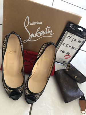 Never used Christan Louboutin heels and vintage LV wallets and phone case for Sale in Hillsboro Beach, FL
