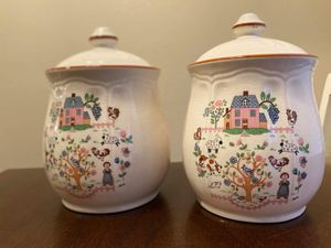 Antique Jamestown glass Kitchen canisters (set of 2) for Sale in Buda, TX