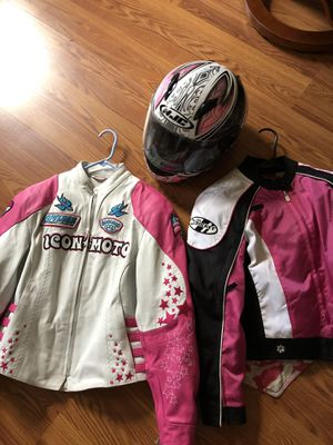Ladies motorcycle helmet & 2 jackets for Sale in Baltimore, MD