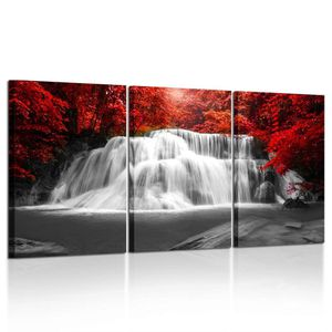 Large Beautiful Red Fall Leaves and Waterfall Canvas Wall Art for Sale in Winchester, CA