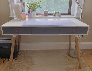 Two-Toned Retro 3-Drawer Desk Diamond Sofa white/gray for Sale in Boston, MA