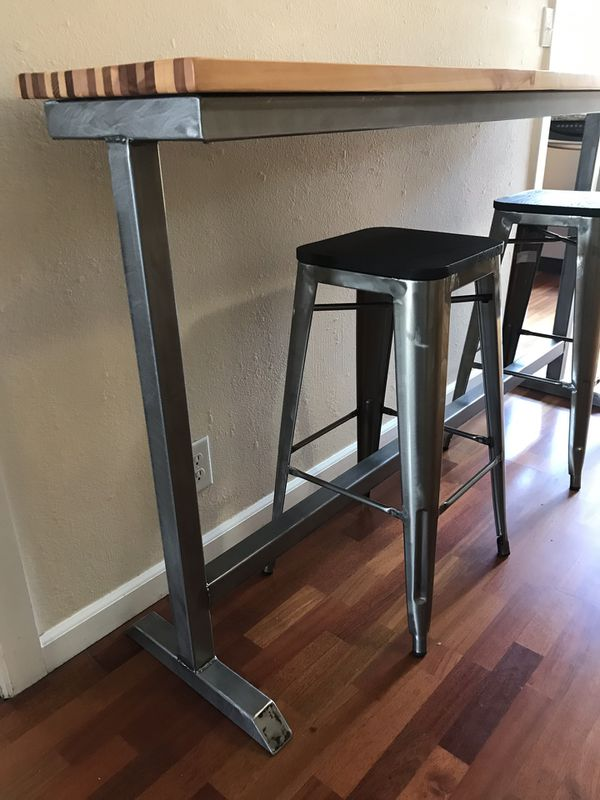 Handcrafted Bar Table with Stools