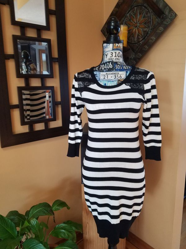 b2ee74170a8 BCX BLACK AND WHITE STRIPED SWEATER DRESS! for Sale in ...