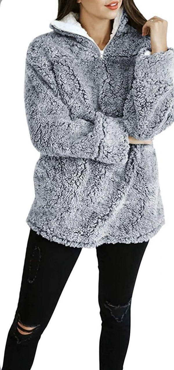 (Size M) ZESICA Women's Autumn Winter Long Sleeve Zipper Sherpa Fleece Sweatshirt Pullover Jacket Coat