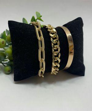 Punk Style 3pcs/Set Curb Cuban Multilayer Link chain bracelet, Gold Color for Sale in Tustin, CA