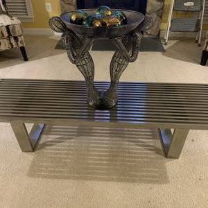Polished Stainless Steel Coffee Table or Bench for Sale in Greater Upper Marlboro, MD