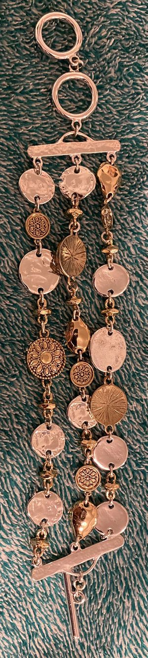 Silver/Gold Mixed Metal Coin Bracelet for Sale in Ithaca, NY