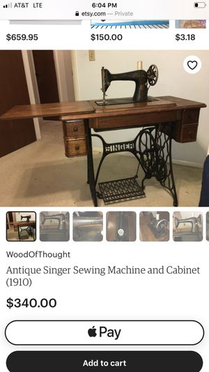 More Item details Vintage from the 1920s Description Stunning antique Singer Treadle Sewing Machine with a beautiful oak cabinet. This Singer sewing for Sale in Dallas, TX