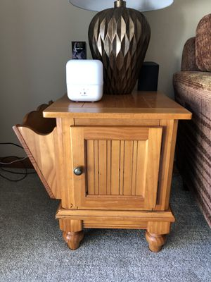 Wood End Tables - 1 with removeable magazine holder for Sale in Tigard, OR
