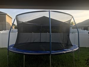 15' Trampoline with Net and Basketball Hoop. for Sale in Land O Lakes, FL