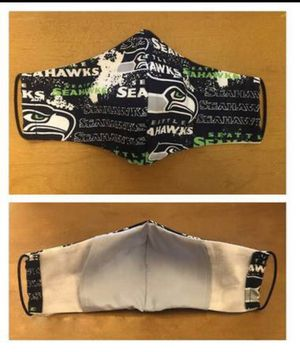 Seahawk Mask w/ Nose Wire & Filter Pocket - 100% Cotton - Handmade for Sale in Bellevue, WA
