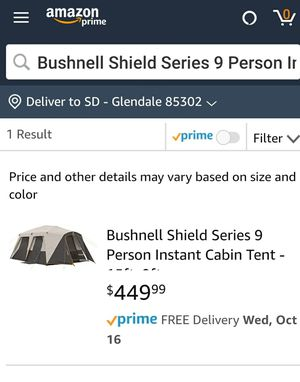 Bushnell 9 Person Instant Cabin Tent for Sale in Glendale, AZ