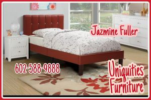 Red Twin size platform bed frame with mattress included for Sale in Glendale, AZ