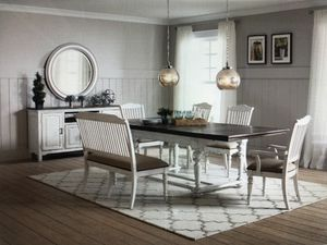 Six piece dining table in vintage white with latte plank finish top! Bench and four chairs included! 999.00 try our 90 days same as cash financing ev for Sale in Mesa, AZ