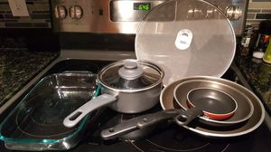 Pot, frying pans, oven plate, anti-splash cover, salad bowl, colander for Sale in Lauderdale-by-the-Sea, FL