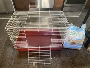 Used Large Pet Cage, Igloo, Wheel, and Food Bowl for Sale in Brooklyn, NY