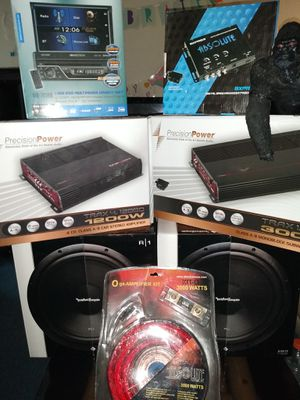 Rockford fosgate package deal to 12 to amplifier 0 gauge wire double DIN TV epic center for Sale in Las Vegas, NV