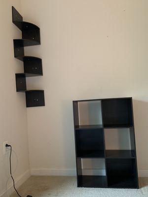 Set of both matching oak sets 6 tier corner shelf and 6 case bookshelf for Sale in Arlington, VA