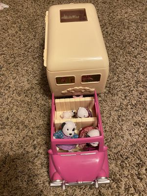 Calico Critters dolls, houses, car, and camper/Lori Doll car and camper/toy register with play money for Sale in Henderson, NV