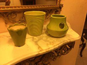 Lovely 3 apple green glazed ceramic pots, one for bulbs. Mint for Sale in Placida, FL