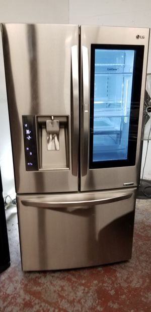 Lg refrigerator 3 door with glass door stainless steel for Sale in San Antonio, TX