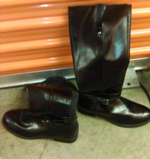 New black leather boots for Sale in St. Louis, MO