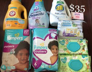 2 PAMPERS Diapers, 1 Arm & Hammer & 1 All Laundry Soap; 1 Johnson Baby Traveler kit, 1 Johnson Baby Bath Soap, 1 Softener, 2 Baby Wipes: 9 items $35 for Sale in Los Angeles, CA