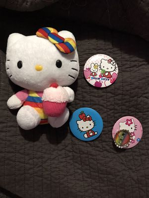 Hello kitty cupcake plush w 3 free pins for Sale in Los Angeles, CA