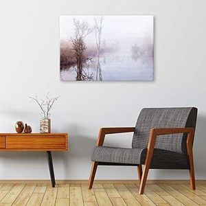 ((FREE SHIPPING)) peaceful lake and field in a misty winter morning - giclee print gallery wrap modern home decor Painting like print for Sale in Fremont, CA
