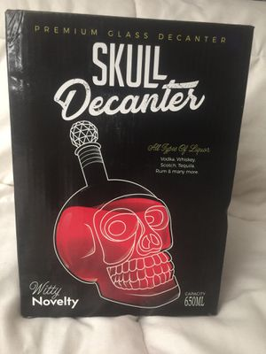 Collectible Witty Novelty Glass Skull Decanter New In Box Holds 650 Ml for Sale in Norco, CA