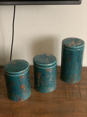 Canisters (gold and blue) for Sale in Santa Monica, CA