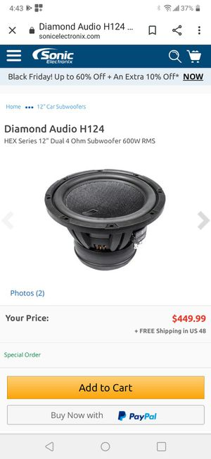 """212"""" dimound h124 series trade for 2 10"""" 1500 rms n up for Sale in Los Angeles, CA"""
