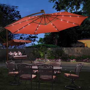 Offset Cantilever Hanging Umbrella w/ Solar Powered LED Lights for Sale in Colorado Springs, CO