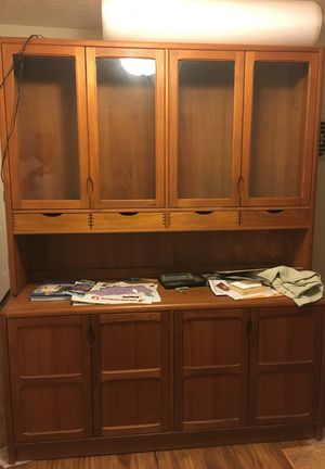 Teakwood Lighted Cabinet Set - GREAT Condition for Sale in Portland, OR