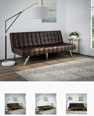Futon Brown Faux Leather $100 for Sale in Conroe, TX