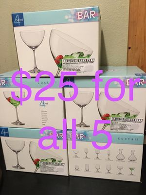 4 Cocktail Glasses in a box ($5 box or $25 for all 5) for Sale in Los Angeles, CA