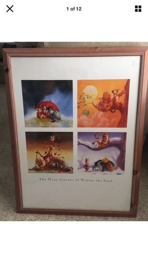 The Many Seasons of Winnie The Pooh, ART, FRAMED, MINT, DISNEY W/ TAGS, 34X27 for Sale in Escondido, CA